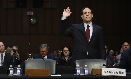 Glenn Fine, Acting Inspector General, U.S. Department Of Defense, is sworn in to testify during a Senate Judiciary Committee hearing on Capitol Hill in Washington in December 2017.