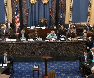 In this image from video, the Senate chamber during the impeachment trial against President Donald Trump in the Senate at the U.S. Capitol in Washington Jan. 28.