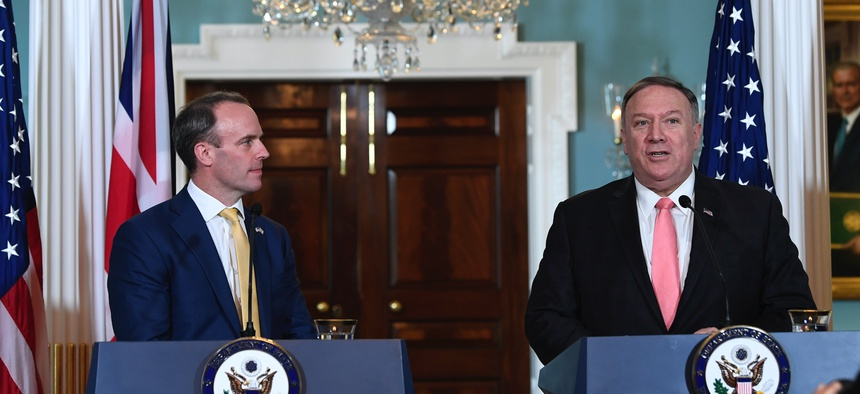 Secretary of State Mike Pompeo, right, speaks during a press availability with Britain's Foreign Secretary Dominic Raab, left, at the State Department in Washington, Wednesday, Aug. 7, 2019.