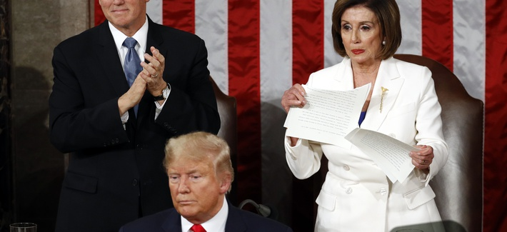 House Speaker Nancy Pelosi of Calif., tears her copy of President Donald Trump's s State of the Union address after he delivered it to a joint session of Congress on Capitol Hill in Washington, Tuesday, Feb. 4, 2020.