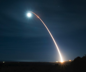 An unarmed Minuteman III intercontinental ballistic missile — one type of weapon constrained by New START — launches during a developmental test at Vandenberg Air Force Base, Calif., Feb. 5, 2020.
