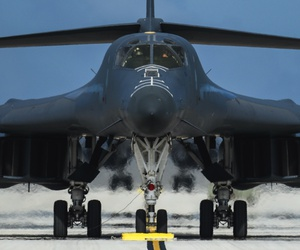 A U.S. Air Force B-1B Lancer assigned to the 9th Expeditionary Bomb Squadron, deployed from Dyess Air Force Base, Texas, arrives Feb. 6, 2017, at Andersen AFB, Guam.