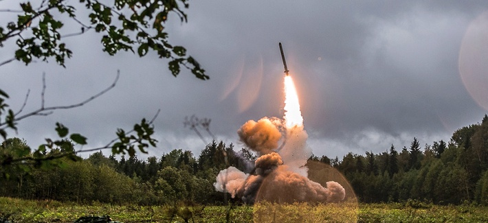 This 2017 photo provided by the Russian Defense Ministry shows a Russian Iskander-K missile launched during a military exercise at a training ground at the Luzhsky Range, near St. Petersburg, Russia.