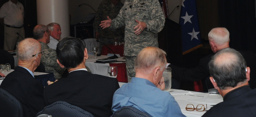 A U.S. Air Force general speaks to retired general officers during the service's annual Retired General Officer Summit in 2010.