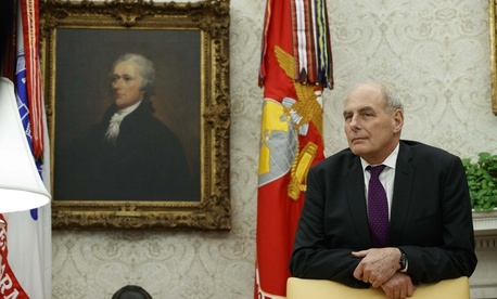 White House Chief of Staff John Kelly watches during a signing ceremony in the Oval Office of the White House, Nov. 16, 2018, in Washington.