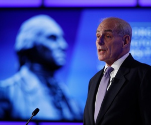 "Homeland Security Secretary John Kelly speaks during a forum ""Home & Away: Threats to America and the Department of Homeland Security response"" in 2017."