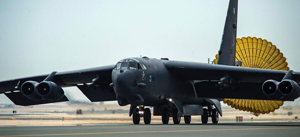 Al Udeid Air Base - An Air Force B-52 Stratofortress aircraft deploys its rear chute after touching down at Al Udeid Air Base, Qatar, April 9, 2016.