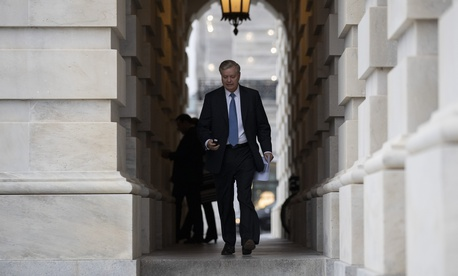 Sen. Lindsey Graham, R-S.C., departs after the impeachment acquittal of President Donald Trump, on Capitol Hill, Wednesday, Feb. 5, 2020 in Washington.