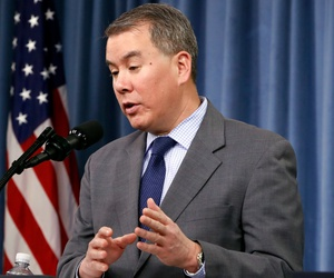 Under Secretary of Defense for Policy John Rood speaks during a 2018 news conference at the Pentagon.