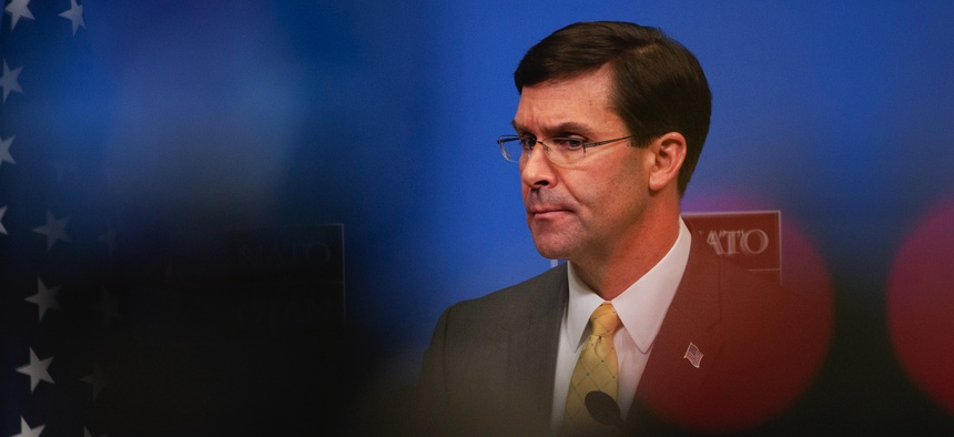 U.S. Secretary for Defense Mark Esper speaks during a media conference at the conclusion of a meeting of NATO defense ministers at NATO headquarters in Brussels, Thursday, Feb. 13, 2020.