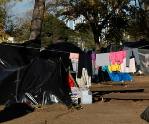 Residents of a tent camp in Ciudad Juarez, Chihuahua, Mexico, shown in December, said they had been waiting over two months to be allowed to ask for asylum at a border crossing into the United States.