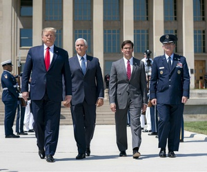 President Trump, joined by Vice President Mike Pence, attends the Full Honors Ceremony for Secretary of Defense Esper on July 25, 2019, at the Pentagon.