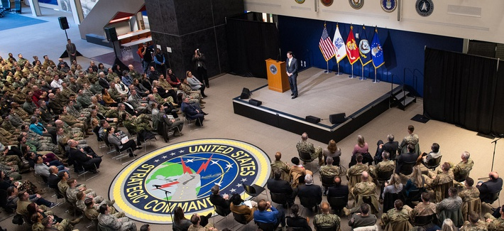 Defense Secretary Dr. Mark T. Esper hosts a town hall during his visit to the headquarters of U.S. Strategic Command at Offutt Air Force Base, Neb., Feb. 20, 2020.