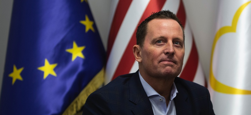 U.S. ambassador to Germany Richard Grenell meets with Isa Mustafa leader of LDK in Kosovo's capital Pristina on Thursday, Jan. 23, 2020.