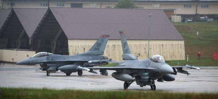 F-16s are among the jets the USAF wants to retire. Here, two F-16s taxi toward a runway at Spangdahlem Air Base, Germany, Oct. 1, 2019.