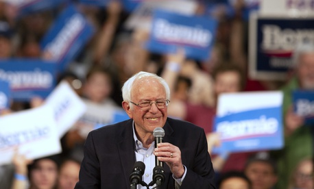 Democratic presidential candidate Sen. Bernie Sanders, I-Vt., speaks at a campaign rally Monday, March 2, 2020, in St. Paul, Minn.