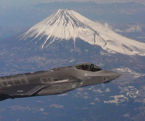 A Japan Air Self-Defense Force F-35A flies past Mt. Fuji on its way to Misawa Air Base. The aircraft, known as AX-6, was the second F-35A built in Japan at the Mitsubishi Heavy Industries (MHI) F-35 Final Assembly and Check Out (FACO) facility in Nagoya.