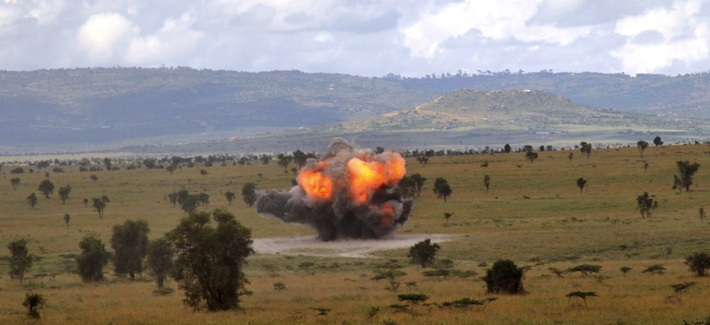 Kenyan Army explosive ordnance disposal (EOD) trainees detonate ordnance outside Nairobi, Kenya, during land-mine training conducted with U.S. Combined Joint Task Force - Horn of Africa.