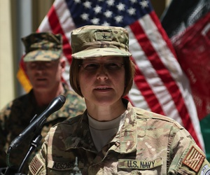 U.S. Navy Rear Adm. Kelly Aeschbach describes details of America's military success in the Battle of Midway during a memorial ceremony in Kabul, June 5, 2017.