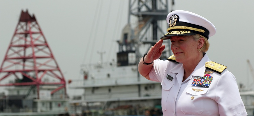 U.S. Navy Rear Admiral Heidi Berg, Director of Intelligence for U.S. Africa Command, boards a Nigerian vessel after the opening ceremony of Obangame Express 2019 on March 14, 2019.