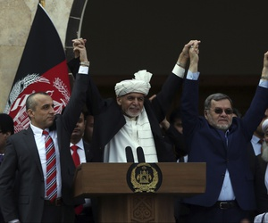 Afghan President Ashraf Ghani, center, second Vice President Sarwar Danish, right, and first Vice President Amrullah Saleh, left, at an inauguration ceremony at the presidential palace in Kabul, Afghanistan, Monday, March 9, 2020.