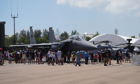 """The 2020 Singapore Air Show was a """"ghost town,"""" one defense industry leader said."""