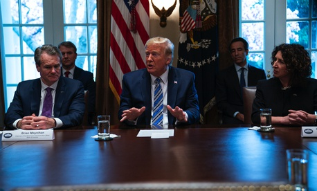 President Donald Trump speaks during a meeting with banking industry executives about the coronavirus, at the White House, Wednesday, March 11, 2020, in Washington.