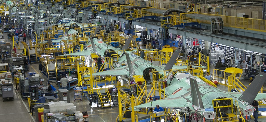 The F-35 Joint Strike Fighter production line in Forth Worth, Texas.