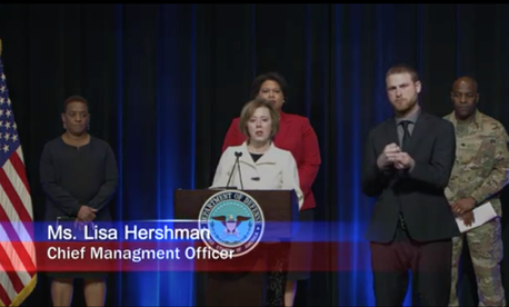 Screen capture of Defense Department virtual town hall regarding coronavirus March 16.