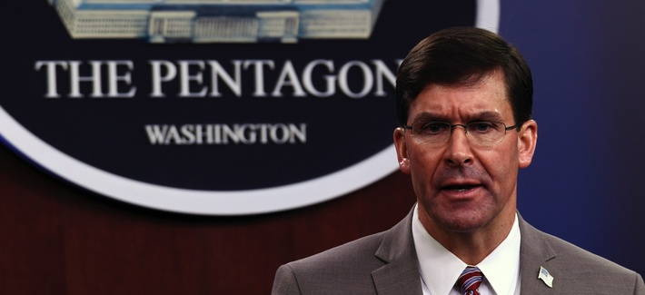 Defense Secretary Mark Esper speaks during a briefing at the Pentagon in Washington, Monday, March 2, 2020.