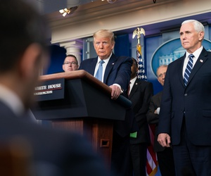 President Donald J. Trump, joined by Vice President Mike Pence and members of the White House Coronavirus Task Force, delivers remarks at a coronavirus briefing on Sunday.