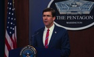 Defense Secretary Mark Esper speaks to members of the media during a news conference to discuss the department's efforts in response to the COVID-19 pandemic at the Pentagon Briefing Room in Washington, on Monday, March 23, 2020