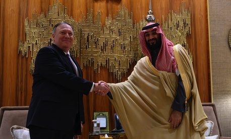 U.S. Secretary of State Mike Pompeo, left, shakes hands with Saudi Arabia's Crown Prince Mohammed bin Salman at Irqah Palace, in the capital Riyadh Saudi Arabia, Thursday, February 20, 2020.