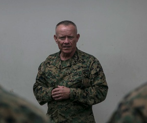 Larry D. Nicholson visits Marines in Tokyo in 2015.
