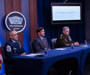 Defense Secretary Dr. Mark T. Esper joined by Joint Chiefs of Staff Chairman Army Gen. Mark A. Milley and Senior Enlisted Advisor to the Chairman Ramón ''CZ'' Colón-López hosts a virtual town hall meeting at the Pentagon Briefing Room