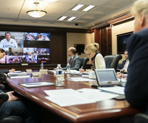 President Trump and other White House officials meet with governors in a video teleconference Thursday to discuss coronavirus response efforts.