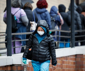 A medical worker outside a Department of Veterans Affairs medical center in New York on March 23.