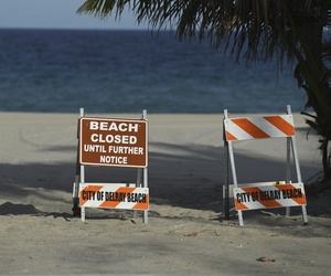 A general view of Delray Beach as the beach is closed in response due to the Coronavirus (COVID-19) pandemic on March 23, 2020 in Delray Beach Florida.