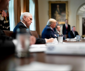 President Trump and Vice President Pence meet with supply chain distributers in response to the coronavirus pandemic on March 29 in the Cabinet Room of the White House.