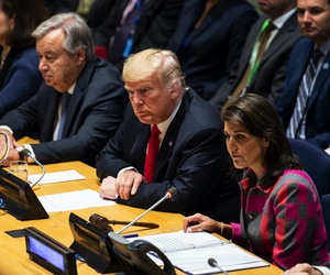 President Trump and then-U.S. ambassador to the UN Nikki Haley at the United Nations in 2018.