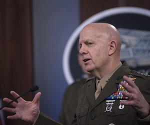 ommandant of the Marine Corps Gen. David H. Berger delivers remarks at a press briefing about the Marine Corps and COVID-19, at the Pentagon, Washington, D.C., March 26, 2020