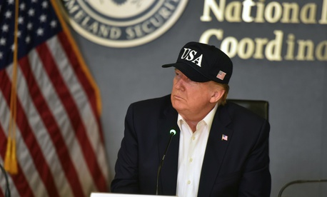President Donald J. Trump leads a Hurricane Dorian briefing at the Federal Emergency Management Agency in Washington, Sept. 1, 2019.