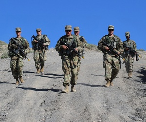 Soldiers from Headquarters and Headquarters Company, 1st Space Battalion, 1st Space Brigade, conduct patrolling operations as part of field training exercise Aug. 28, 2019 at Fort Carson, Colo.