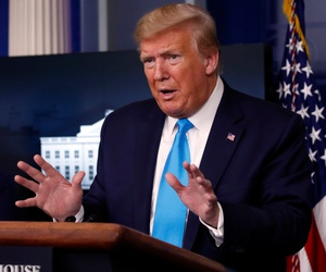 President Trump speaks about the coronavirus during an April 7 briefing.