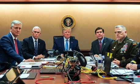 President Donald Trump and national security officials on Oct. 26, 2019, in the Situation Room of the White House in Washington, monitoring developments as in the U.S. Special Operations forces raid that killed Islamic State leader Abu Bakr al-Baghdadi.