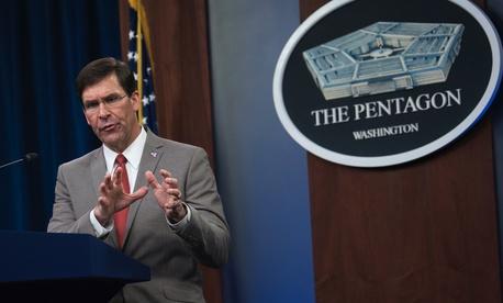 Defense Secretary Dr. Mark T. Esper briefs the media about the department's COVID-19 response, the Pentagon, Washington, D.C., March 17, 2020.