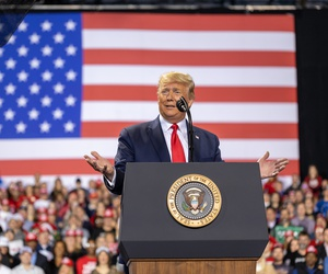 Trump speaks at a rally in Michigan in December 2019.