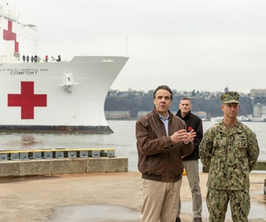 New York Gov. Andrew Cuomo welcomes the arrival of USNS Comfort. Cuomo is working with the Democratic governors of New Jersey and Connecticut to coordinate a regional plan.