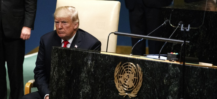 President Donald Trump sits down after delivering a speech to the United Nations General Assembly, Tuesday, Sept. 25, 2018, at U.N. Headquarters.