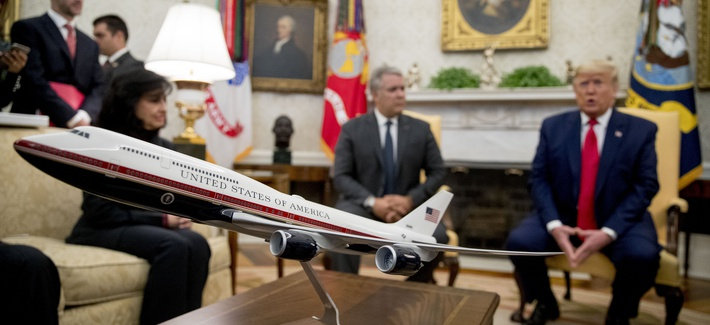 A model of the new Air Force One design sits on a table as President Donald Trump meets with Colombian President Ivan Duque in the Oval Office of the White House.